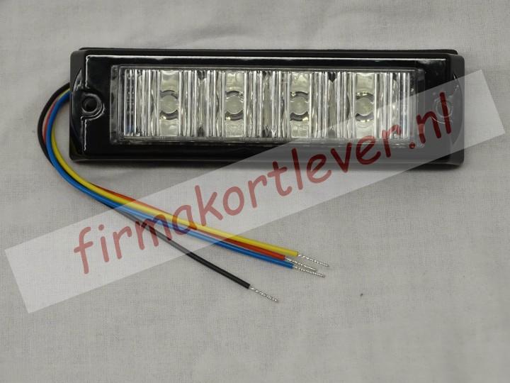 Stroboscoop LED flitser 12 – 24v diverse kleuren 4 led